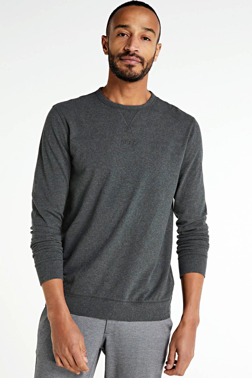 BOSS Casual gemêleerde sweater grijs melange, Grijs melange