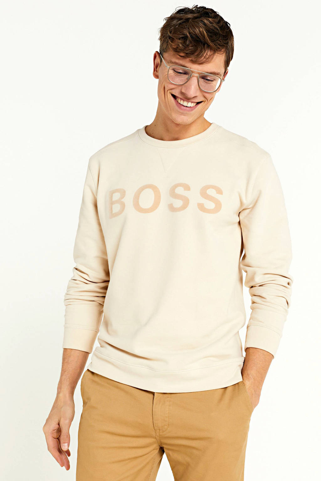 BOSS Casual sweater met logo ecru, Ecru