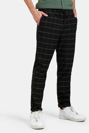 geruite slim fit broek Nero zwart