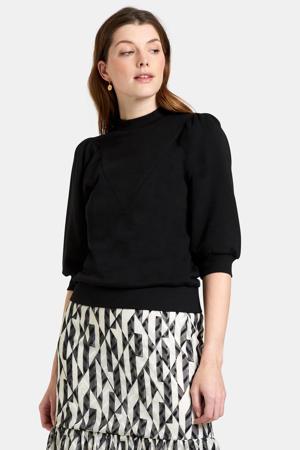 sweater Marley met pofmouwen zwart