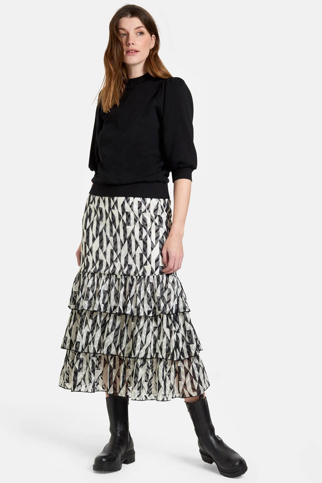 Eksept by Shoeby sweater Marley met pofmouwen zwart, Zwart