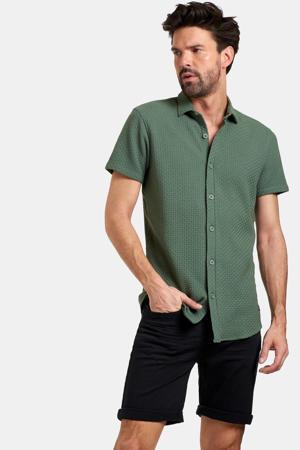 regular fit overhemd Dason met textuur donkergroen
