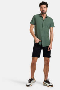 Refill by Shoeby regular fit overhemd Dason met textuur donkergroen, Donkergroen