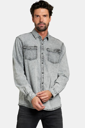 regular fit denim overhemd Tomsy lichtgrijs