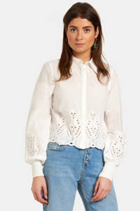 Eksept by Shoeby blouse Plate met kant wit, Wit