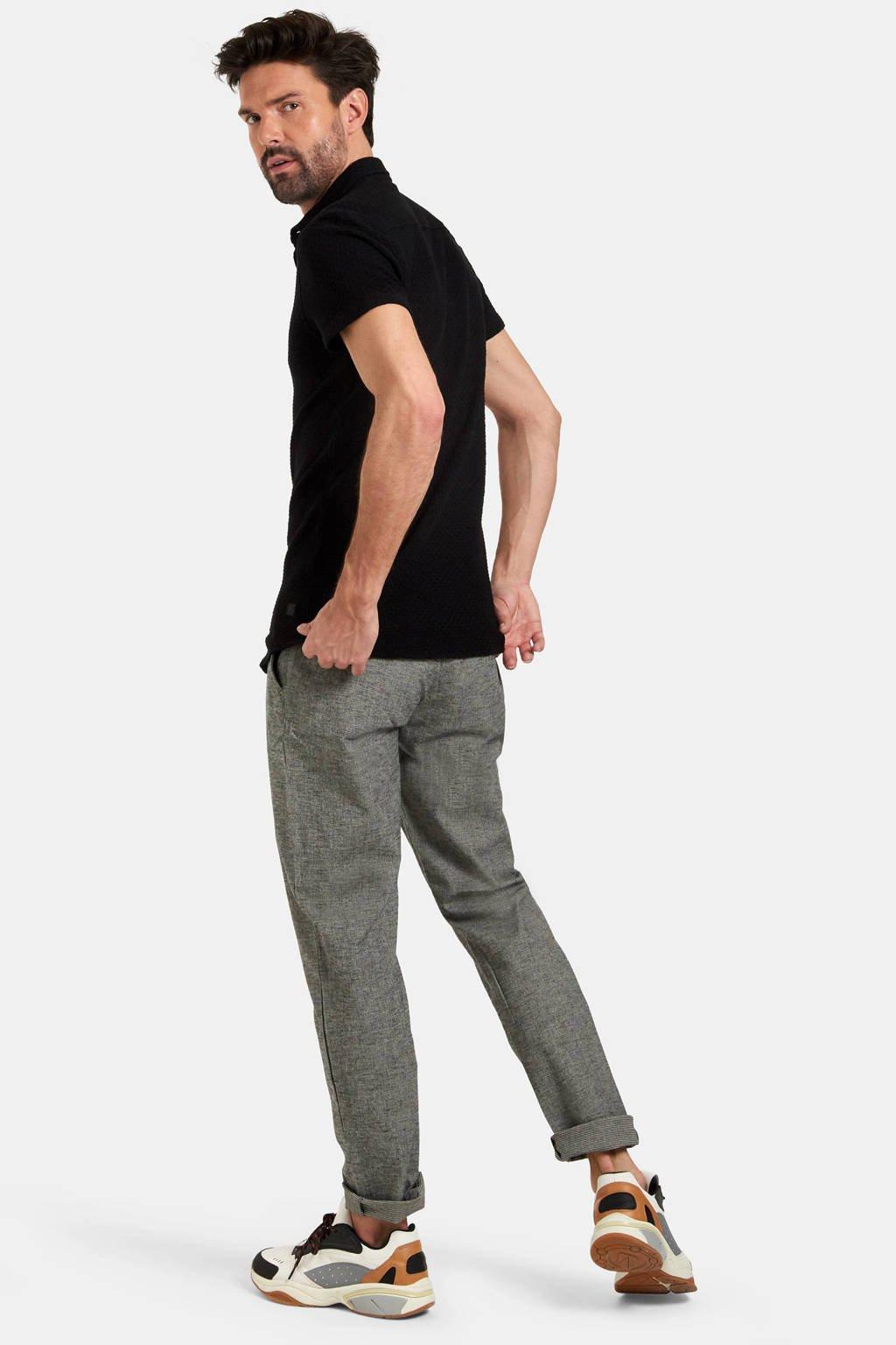 Refill by Shoeby regular fit overhemd Dason met textuur zwart, Zwart