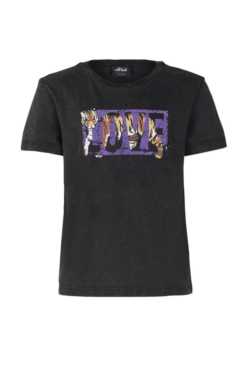 Jill & Mitch by Shoeby T-shirt Kato met printopdruk antraciet, Antraciet