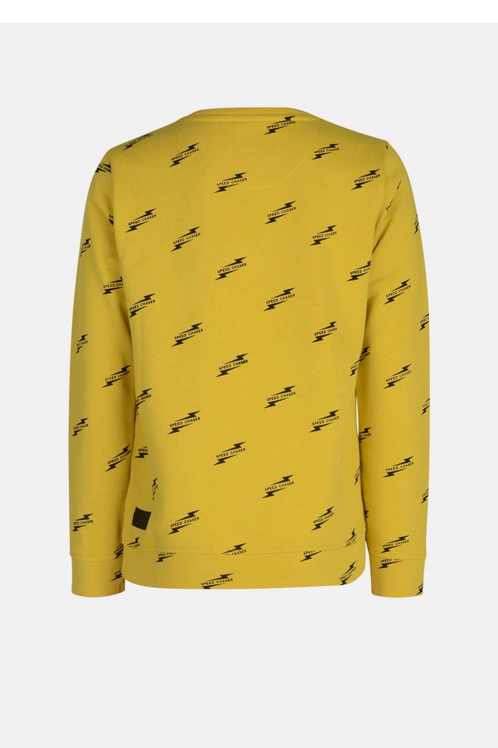Jill & Mitch by Shoeby sweater Kadian met all over print mosterdgeel/zwart, Mosterdgeel/zwart