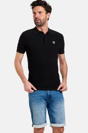fijngebreide regular fit polo Tyson met logo zwart