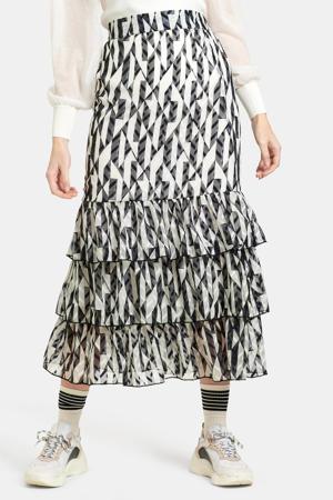rok met all over print en volant zwart/wit