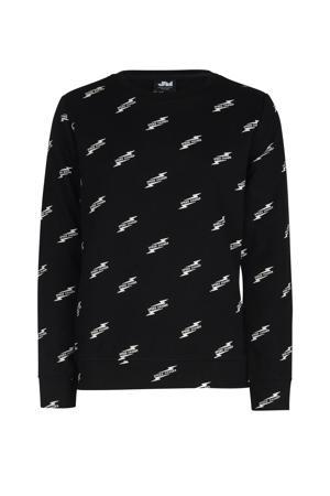 sweater Kadian met all over print zwart/wit