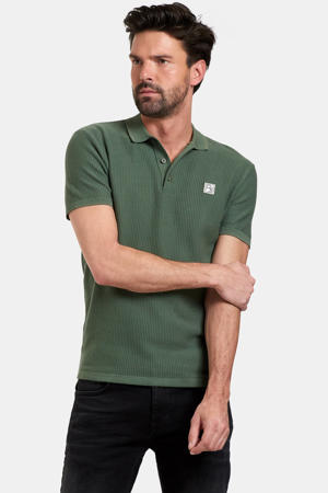 fijngebreide regular fit polo Tyson met logo army green