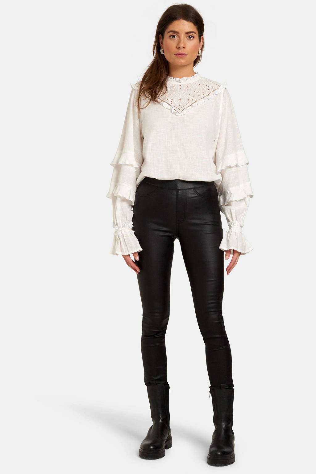 Eksept by Shoeby blouse met kant wit, Wit