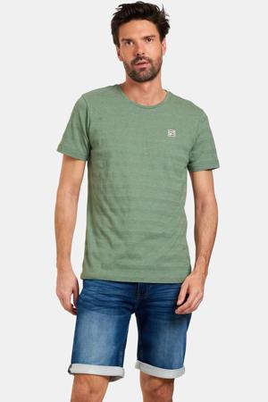 T-shirt Tijl met logo en textuur donkergroen