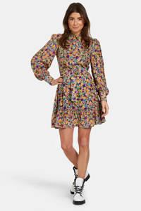 Eksept by Shoeby jurk Floral met all over print en ruches geel/blauw/paars
