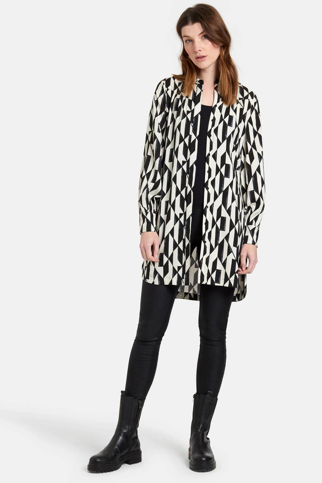 Eksept by Shoeby blouse Wish met all over print en ceintuur zwart/wit, Zwart/wit