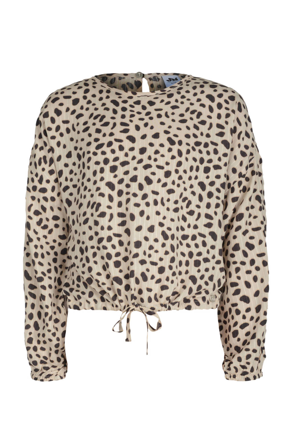 Jill & Mitch by Shoeby blouse Kan met all over print beige/antraciet, Beige/antraciet