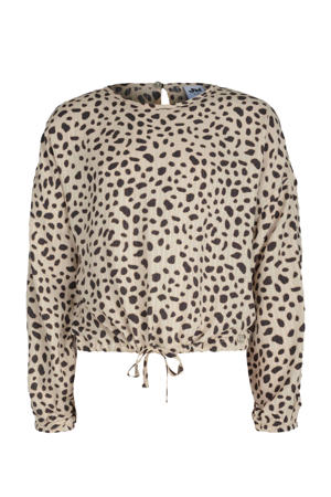 blouse Kan met all over print beige/antraciet