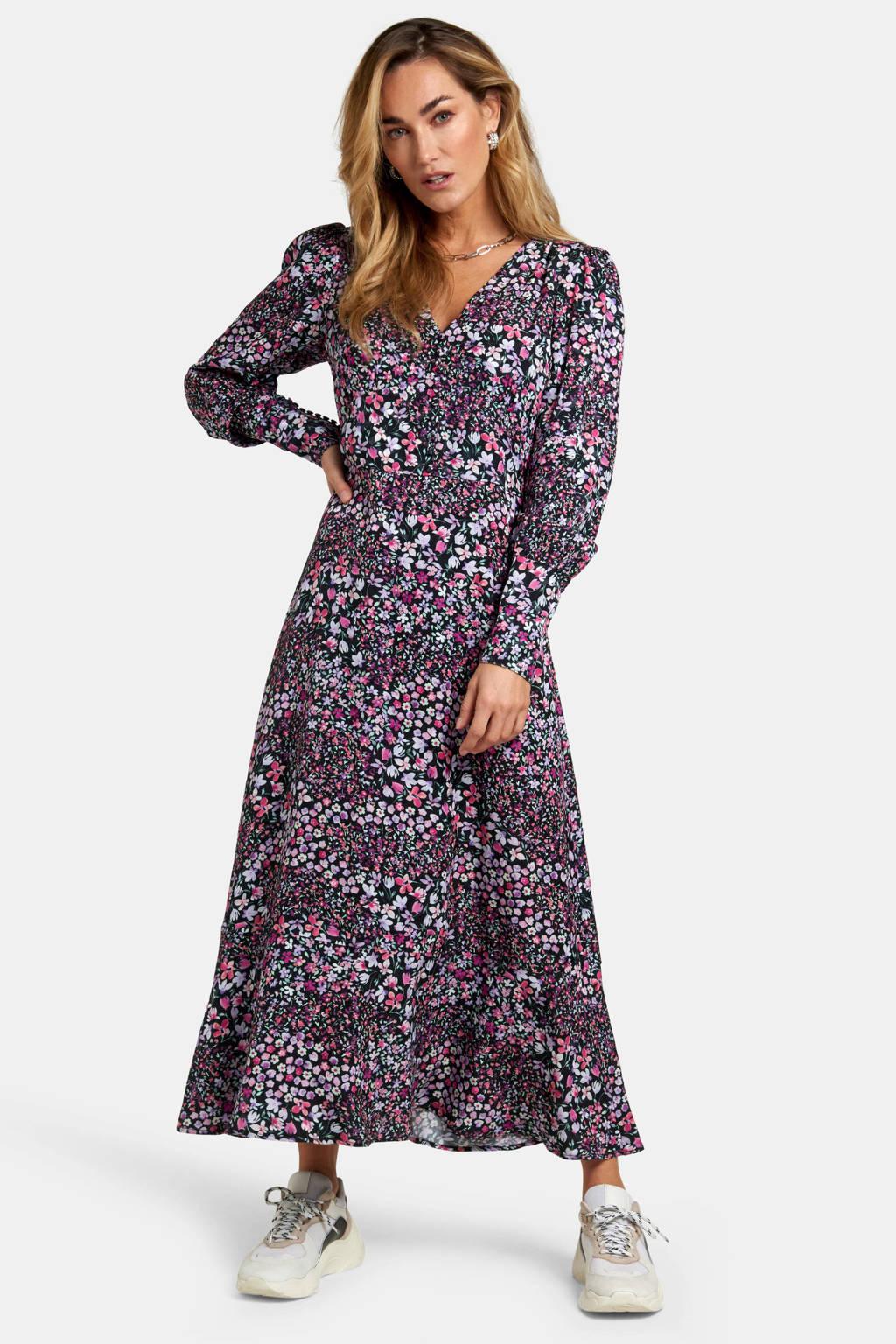 Eksept by Shoeby gebloemde maxi jurk paars/roze, Paars/roze