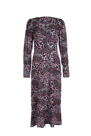 gebloemde maxi jurk paars/roze