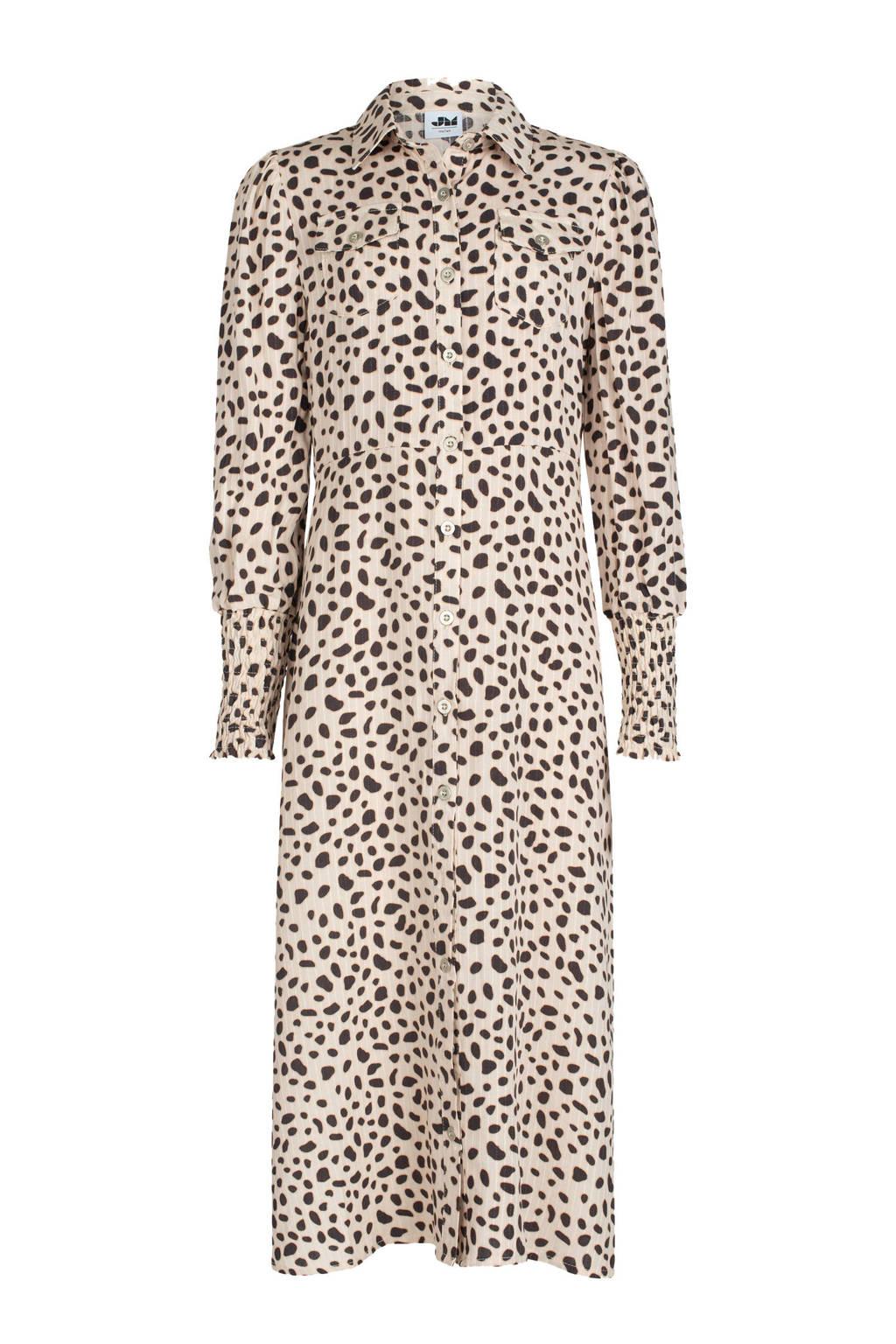 Shoeby Jill & Mitch getailleerde blousejurk Kan met all over print ecru/zwart, Ecru/zwart