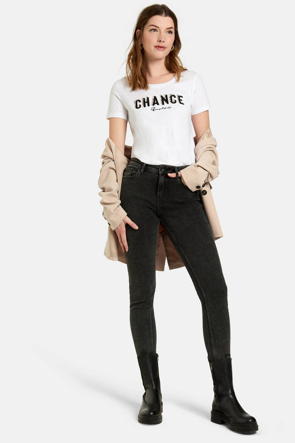 Eksept by Shoeby T-shirt Chance met tekst wit, Wit