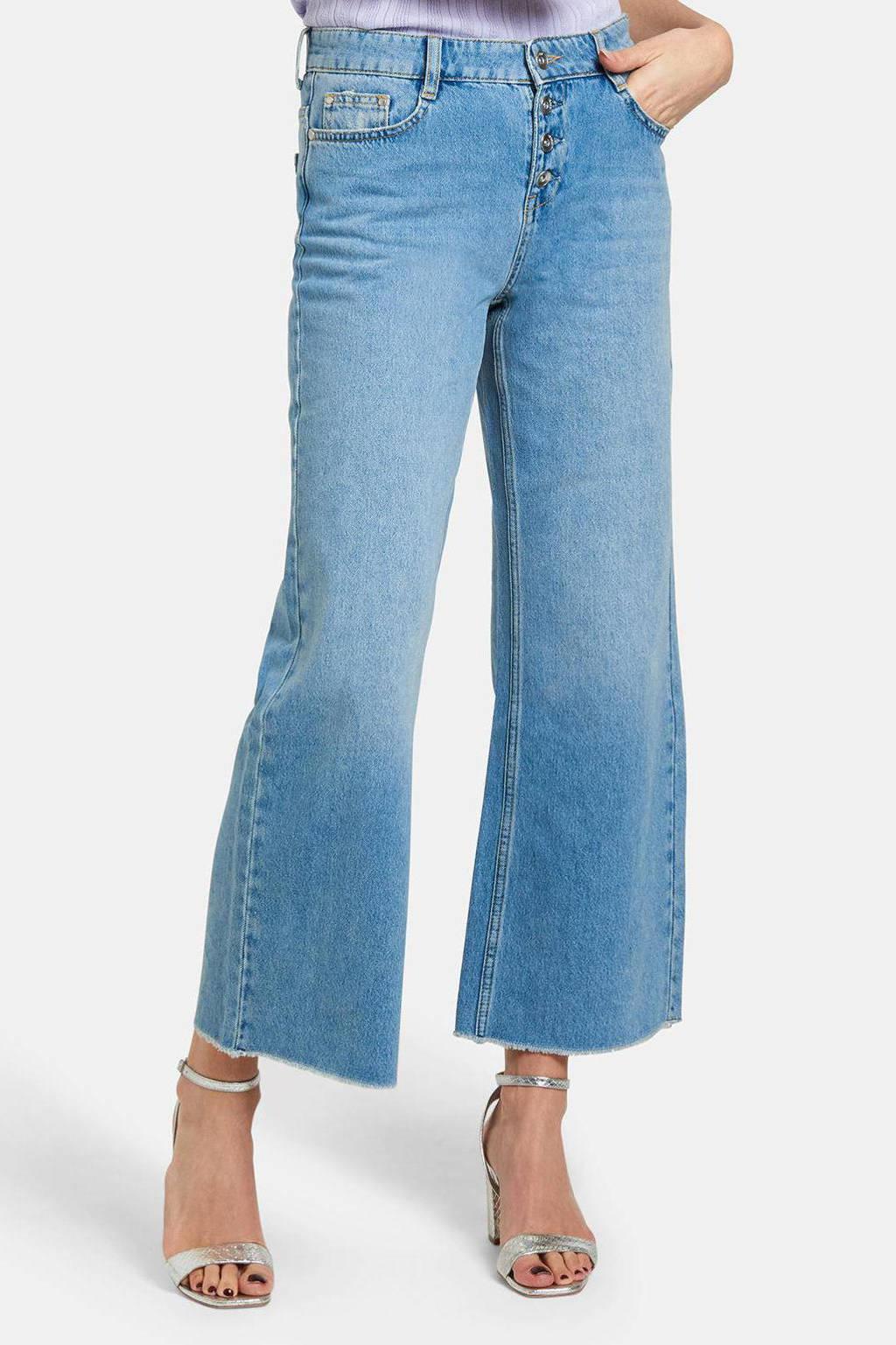 Shoeby cropped wide leg jeans Lieke lichtblauw, Lichtblauw