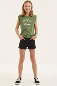 Geisha T-shirt met tekst army groen, Army groen