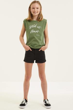 T-shirt met tekst army groen