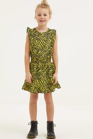 jurk Xuxa met zebraprint en volant geel/zwart