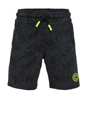 regular fit sweatshort Kobess met all over print donkerblauw/groen