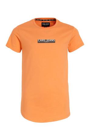 T-shirt Combroy met tekst oranje