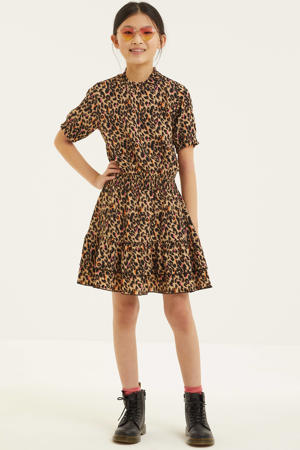 jurk Inez met panterprint zand/zwart