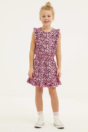 jurk Xuxa met panterprint en ruches roze/zwart