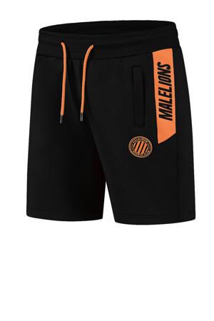 regular fit short met logo zwart/neon oranje