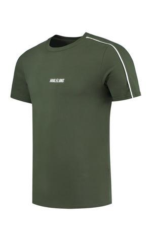 T-shirt donkergroen/wit