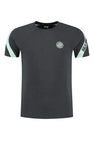 T-shirt antraciet/mintgroen