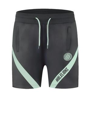 regular fit short met logo antraciet/mintgroen