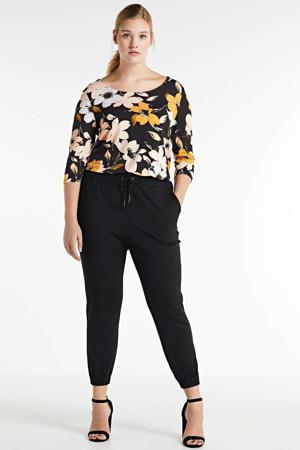 gebloemde tuniek zwart/wit/geel