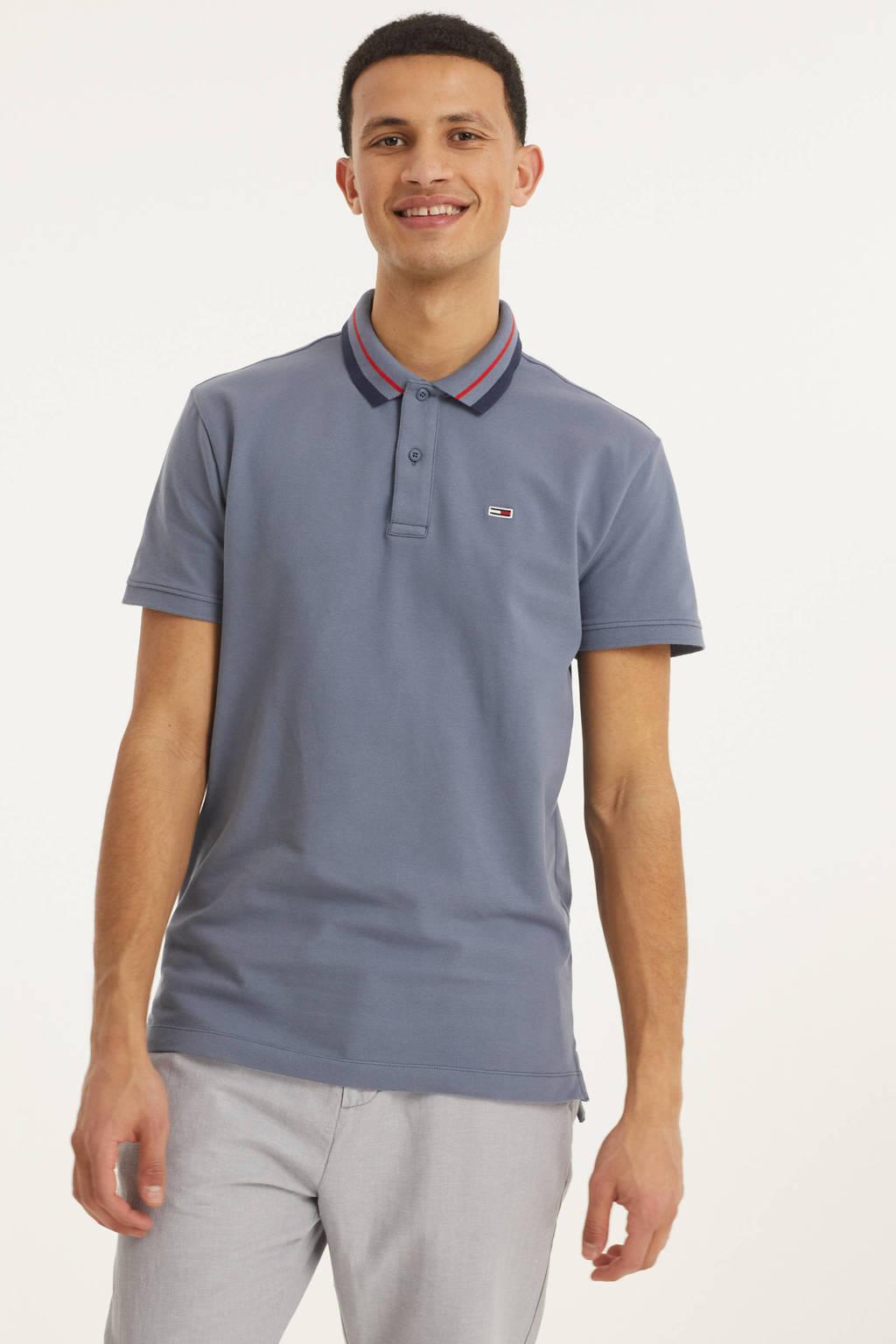Tommy Jeans regular fit polo met contrastbies grijsblauw, Grijsblauw