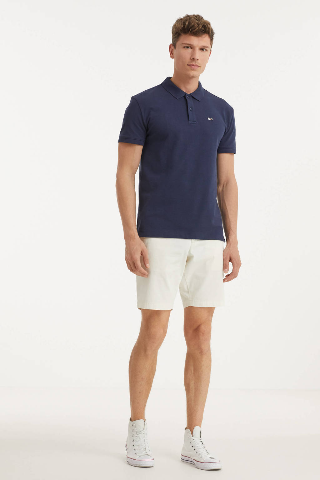 Tommy Jeans regular fit polo met logo donkerblauw, Donkerblauw