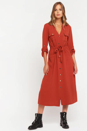 maxi blousejurk rood