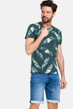 T-shirt Ties met all over print donkergroen