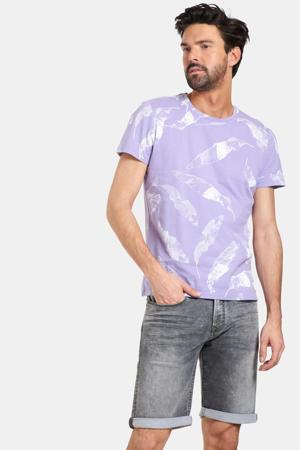 T-shirt Ties met all over print paars