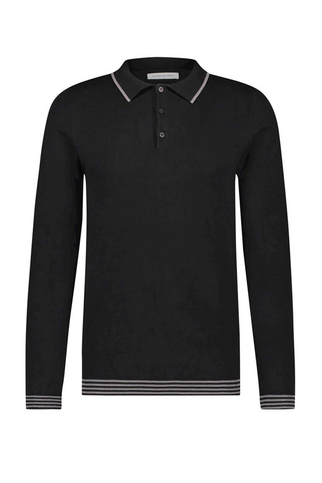 Purewhite fijngebreide trui met contrastbies zwart, Zwart