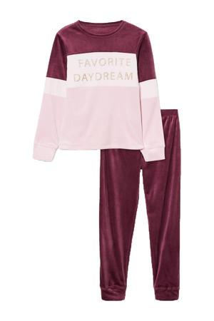 velours pyjama paars/roze