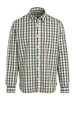 geruit regular fit overhemd van biologisch katoen bruin/wit