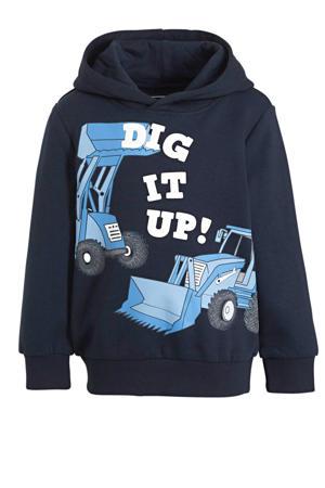 hoodie met printopdruk donkerblauw/wit/blauw
