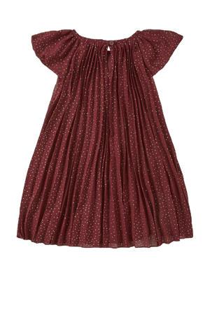 jurk met stippen en ruches donkerrood/wit