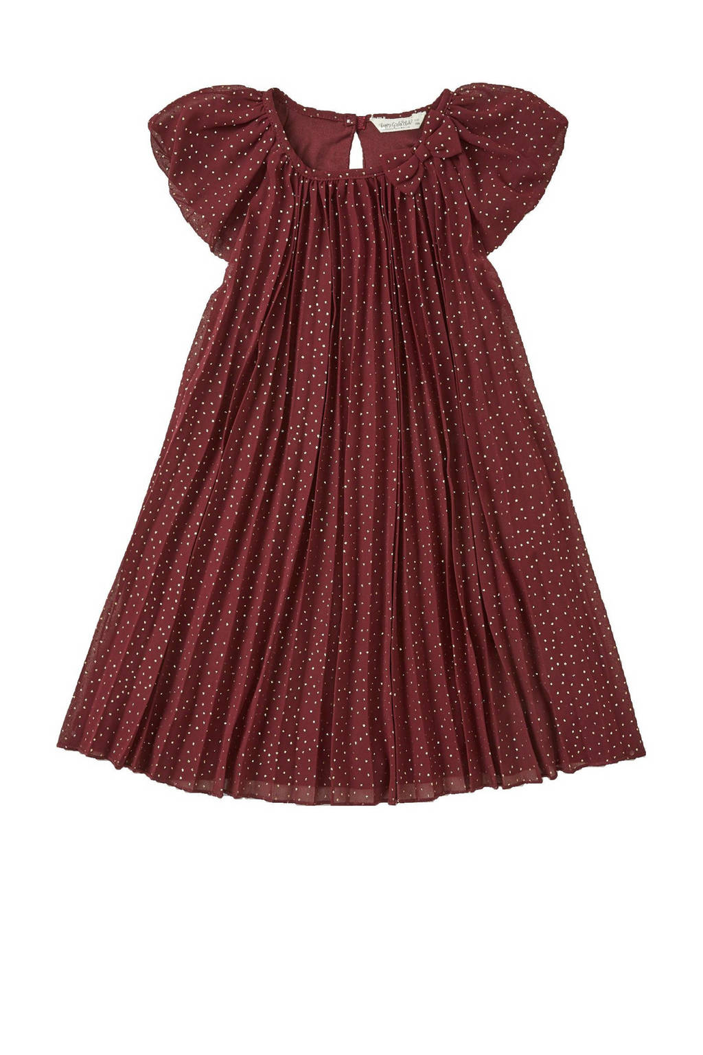 C&A Palomino plisse jurk met stippen en ruches donkerrood/wit, Donkerrood/wit